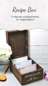 Personalised Recipe Card Box I Wooden Recipe Organiser