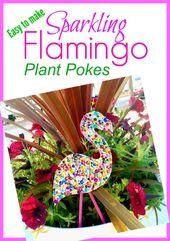 Fun to make Sparkling Flamingo Plant Pokes