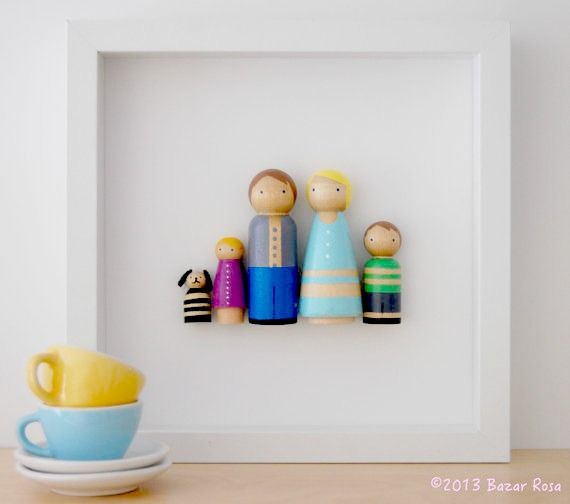 Coolest gift for mom: A family portrait made of custom peg dolls.