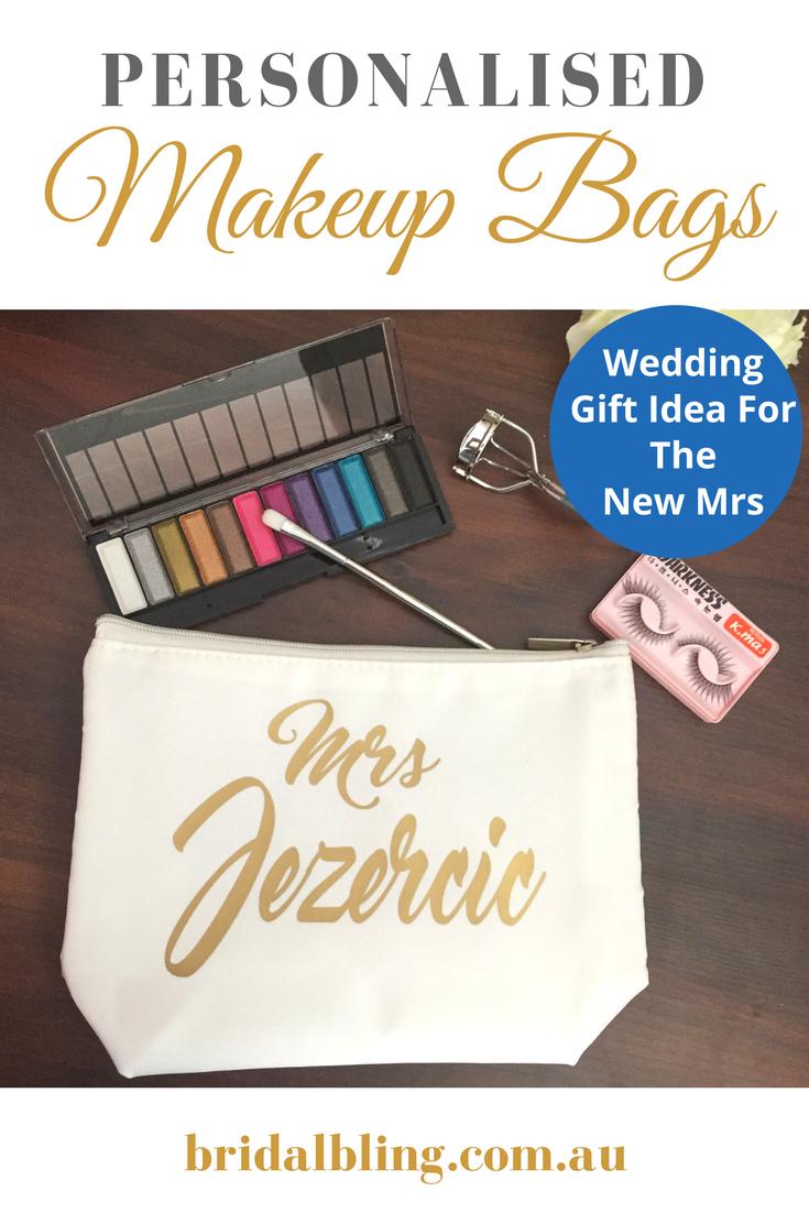 Personalised makeup bag, mrs makeup bag, makeup bag for bride, wedding bag for b...