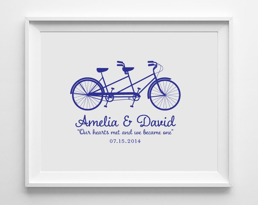 Personalized Bicycle Wedding Art Print, WAP02 - Modern Pink Paper