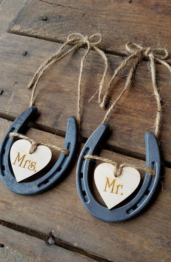 Wedding Chair Signs   Horseshoe Wedding Decor   Mr and Mrs Signs   Horseshoe Wedding Decor  Rustic Wedding   Barn Wedding